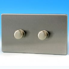 Varilight 2 Gang 2 Way 2x600W Push on/off Dimmer (Twin Plate) Screwless Matt Chrome HDS62S